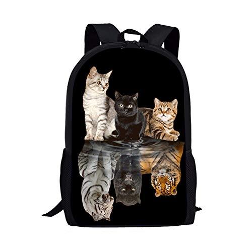 Showudesigns - Zaino da scuola per bambini con stampa sveglia con tasca per bottiglia, Tigre gattino (Nero) - Z-5542C030