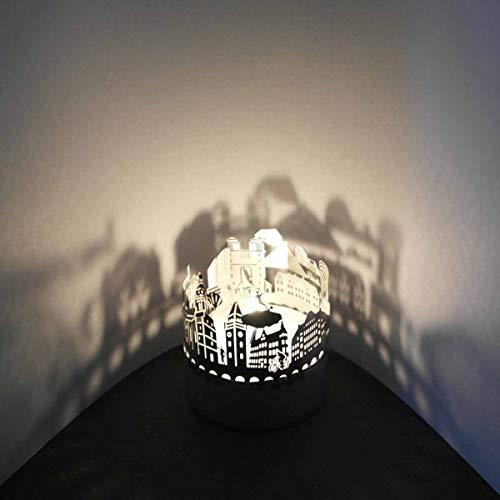 13gramm Cottbus-Skyline Windlicht Schattenspiel Souvenir, 3D Edelstahl Aufsatz für Kerze inkl. Karte