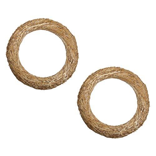 DekoPrinz® Strohkränze, 2 Stück | ø 20 cm Durchmesser | 3 cm Stärke | Strohrömer, Türkranz, Deko-Kranz, Kranz-Rohling, Strohring