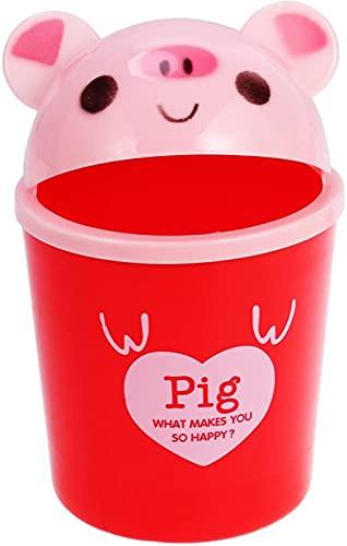 Mini Bote de Basura con Tapa - Bote de Basura de Escritorio de Animales Lindo, Almacenamiento de Basura, Cubo de Basura para Uso en el Dormitorio de la Oficina de los niños (Cerdo)