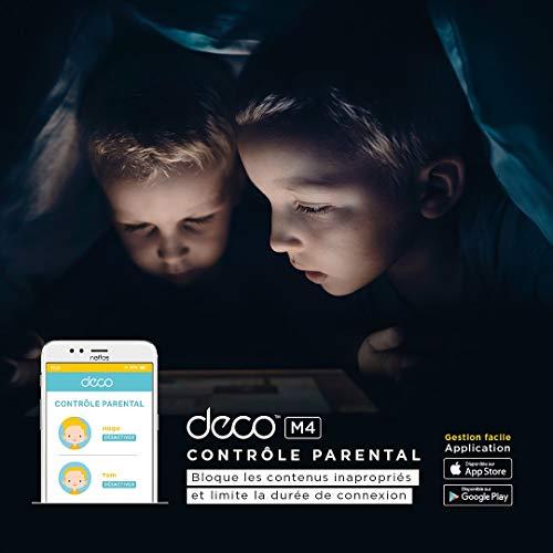 TP-Link Deco WiFi Mesh AC 1200Mbps Deco M4 (3-pack) Système WiFi pour toute la maison - Couverture WiFi de 320㎡, 2 Gigabit Ethernet Ports, Contrôle parental, Compatible avec toutes les Box Fibre
