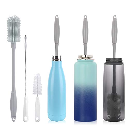 "14"" Silicone Bottle Brush - Cleaning Set for Sports Water Bottle, Baby Bottles, Tumbler, Drinking Glasses, Vase, Bottle Cleaner Compatible with Thermos Hydro Flask Contigo S'well Simple Modern, etc."