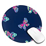 Beautiful Butterfly Round Mouse Pad - Non-Slip Rubber Circular Mice Mat - Stitched Edges Mousepad - Suitable for Home, Office, Workspace