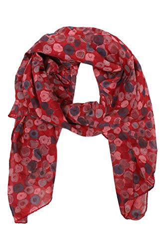 Zwillingsherz Seiden-Tuch im auffälligem Design - Hochwertiger Schal für Damen Mädchen - Halstuch - Umschlagstuch – Pashmina - Loop - weicher Schlauchschal für Frühjahr Sommer Herbst Winter - rot