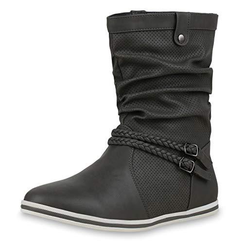SCARPE VITA Damen Schlupfstiefel Sportliche Stiefel Leder-Optik Boots Schnalle 173203 Grau 36