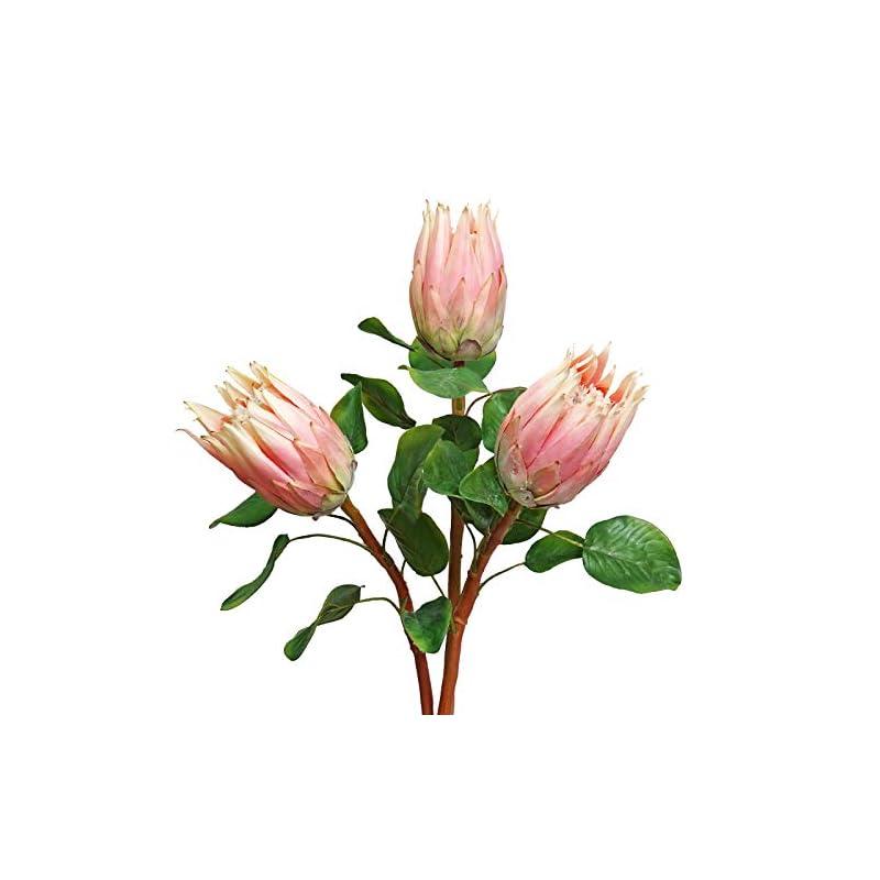 silk flower arrangements artificial king protea silk artificial flowers real touch protea cynaroides flowers 26.77 inch tall flower arrangements decor for home kitchen garden wedding party decoration (pink)