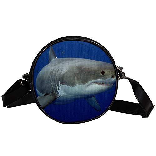 Bennigiry Damen Umhängetasche mit Hai-Print, rund, mit Tragegriff, Weiß