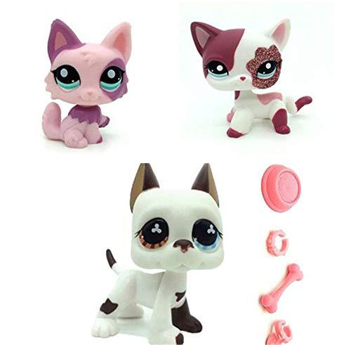 WooMax Pet Shop Juguete LPSs gato sentado rosa + gato rosa brillante + perro blanco danés cachorro con 4 piezas de repuesto LPSs para niños y niñas regalo