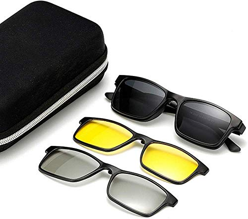 Unisex superlicht gepolariseerde zonnebril, retro gepolariseerde zonnebril met 3 verwisselbare lenzen voor mannen en vrouwen nachtzicht en 3D-lens, onbreekbaar TR90 montuur clip-on UV-bescherming Magie So