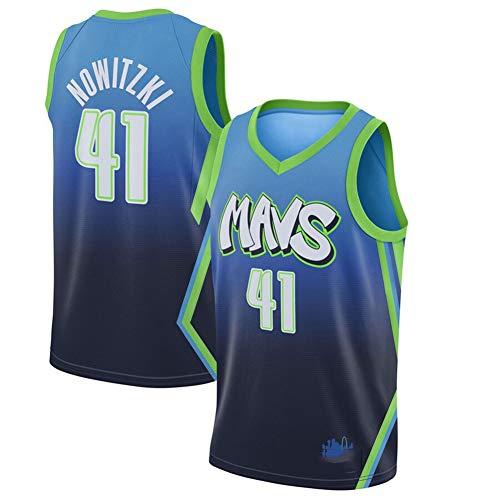 TGSCX NBA Jersey Dallas Mavericks 41# Dirk Nowitzki Capacitación de Baloncesto Ropa Deportiva y de Ocio Secado rápido Vestido DE Manera Transpirable (2 Estilos están Disponibles),B,M