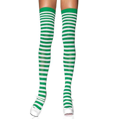 LEG AVENUE 6005 - Overknee Halterlose Strümpfe Mit Streifen, Einheitsgröße (EUR 36-40), weiß/kelly grün, Damen Karneval Kostüm Fasching