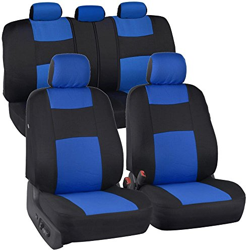 BDK PolyPro Black Car Seat Covers with Blue Accents, Full Set - Easy to Install, Front and Rear Bench Seat Protectors, Full Coverage for Car Truck Van and SUV