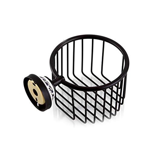 Vintage afwerking muurbevestiging Roll wc- papier draad mand toiletpapier caddy opslag badkamer douche cosmetische houder zeep mand (zwart)