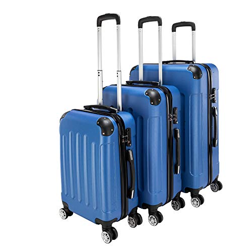 3 Pieces ABS Luggage Sets Hard side Spinner Lightweight Durable Spinner Suitcase 20' 24' 28',3-in-1 Multifunctional Large Capacity Traveling Storage Suitcase Dark Blue