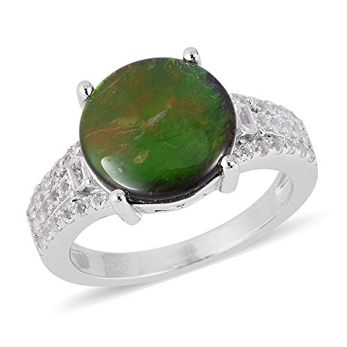 TJC Solitaire 925 Sterling Silver Ring for Women AA Ammolite White Topaz Size L, 4.025 Ct