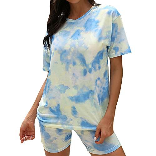 PRJN Conjunto de Pijamas de Ropa Informal con Estampado de teñido Anudado para Mujer Pijamas de Manga Corta Pijamas Informales de Cuello Redondo Pijamas de Verano para Mujer Pijamas de 2 Piezas
