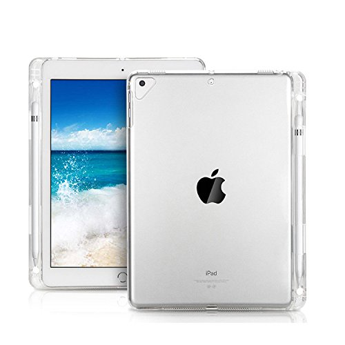 Arlgseln Clear Soft Tablet Case TPU Transparent Shockproof Protective Cover+Apple Pencil Holder for iPad 5th/6th Generation/New iPad 9.7-inch A1954/A1893/A1822/A1823 2017/2018/iPad Air/iPad Pro 9.7'