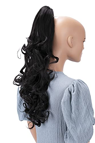 PRETTYSHOP 50cm Postiche Natte Queue De Cheval Extensions De Cheveux Volumineux Ondulé Brune H1