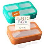 MINI Lunch-Box Snack Containers for Kids   SMALL Bento-Box Portion Container   Toddler Pre-School   Leak-proof Boxes for Work, Travel   Best for Adults Boys or Girls   Blue + Orange Set of 2