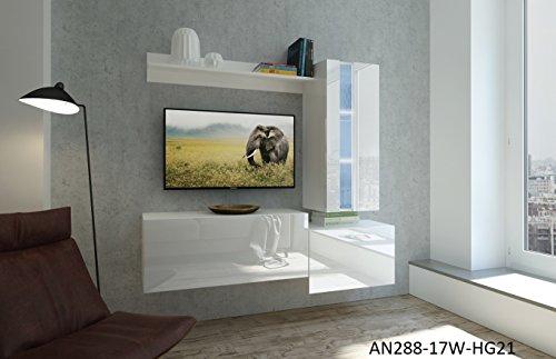 Home Direct Nancy N288, Modernes Wohnzimmer, Wohnwände, Wohnschränke, Schrankwand (Weiß Matt Base/Weiß HG Front (HG21), Möbel)