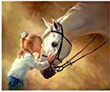 LMMLYR 5D DIY Pintura Diamante Chica de White Horse River 5D Punto de Cruz Diamante, Redondo...