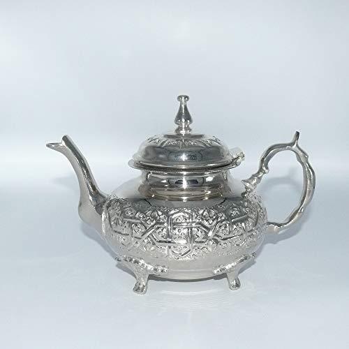 Orientalische Teekanne Marokko Kanne aus versilbertem Messing für Teezubereitung Orient 1001 Nacht- 1000 ml - 905707-0013