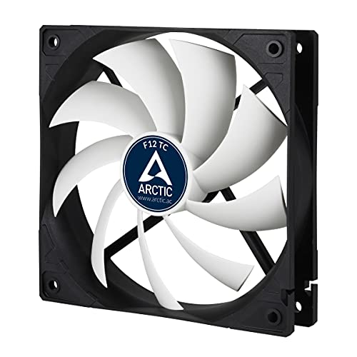ARCTIC F12 TC - Temperaturgesteuerter 120 mm Gehäuselüfter, Standard Case Fan, Temperatursensor reguliert RPM, Push- oder Pull-Konfiguration, 300-1350 U/min. - Schwarz/weiß