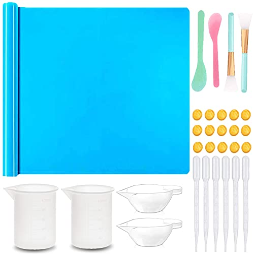 """Resin Kit-15.7"""" x 11.7"""" Silicone Mats, Silicone Measuring Cups, Silicone Mixing Cups, Plastic Transfer Pipettes, Silicone Epoxy Brushes, Finger Cots, for Crafts Jewelry Casting Moulds and DIY Lovers"""
