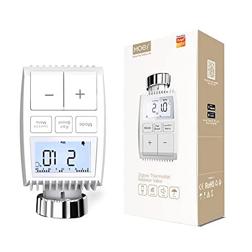 Termostato de calefacción Inteligente MOES Zigbee, Controlador de válvula del radiador Que Funciona con batería, Compatible con la App Smart Life Tuya Alexa Google 2MQTT, Se Requiere Tuya ZigB