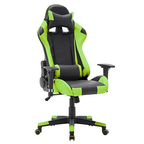T-LoVendo TY-OC-RC1-GREEN Silla Gaming Oficina Racing Sillon Gamer Despacho Profesional Videojuegos PC