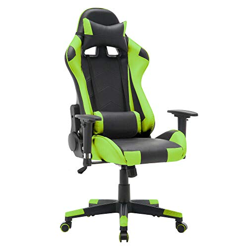 T-LoVendo TY-OC-RC1-GREEN Silla Gaming Oficina Racing Sillon Gamer Despacho Profesional Videojuegos PC