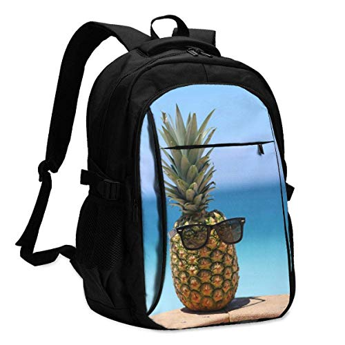 XCNGG Pineapple Decor Travel Laptop Backpack College School Bag Casual Daypack with USB Charging Port