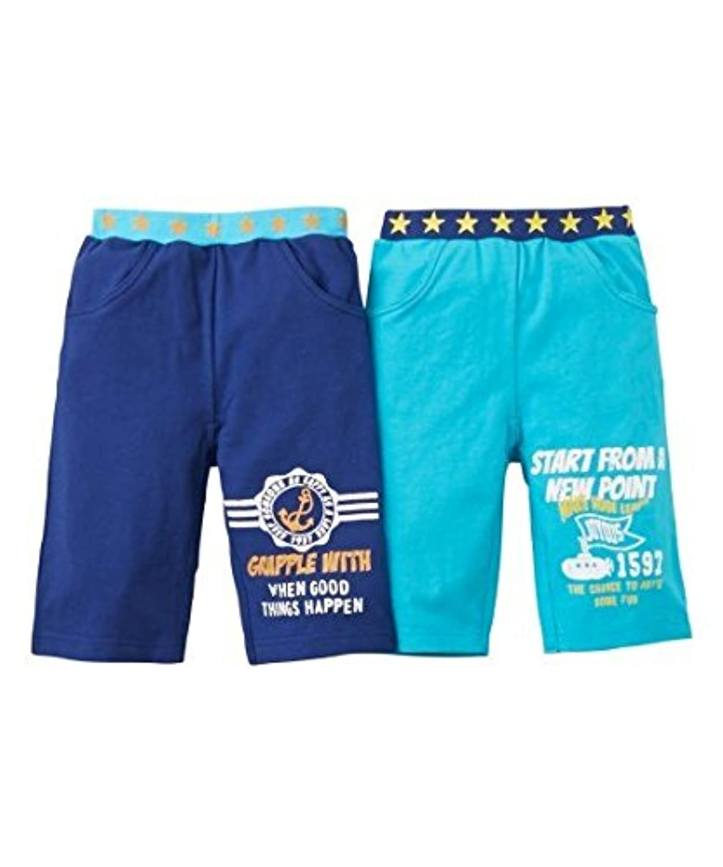 [nissen(ニッセン)] リブ星柄 カットソー ハーフ パンツ 2枚組 男の子 子供服 男の子 キッズ ベビー 紺+ターコイズ 100 セット組