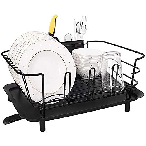 QWSNED Estante de cubiertos,Estante de secado de platos,Escurreplatos para encimera de cocina fregadero,Tablero de drenaje con ajustable,Estante de almacenamiento de cocina