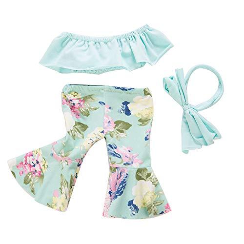Uteruik Pop Kleding voor 46cm/18in Amerikaanse Meisje Pop Casual Outfits - Uit de Schouder Top en Uitgebreide Broek met Haarband Kostuum Accessoire