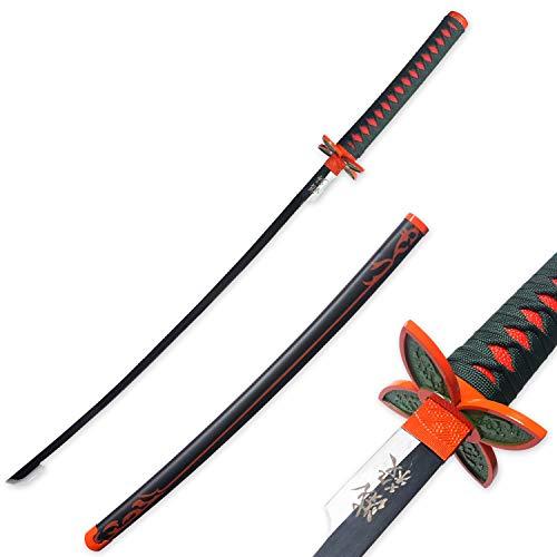 RENGENG Cosplay Anime Kochou Shinobu Katana Samurai Sword, Carbon Steel, Hand-Wound Wax Rope, Black/Dark Green/Orange