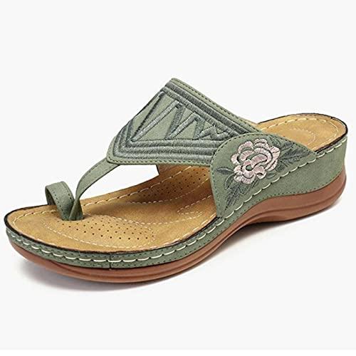 Damskie komfortowe sandały na koturnie Letnie hafty z odkrytymi palcami Niski obcas Antypoślizgowe kapcie trekkingowe z podparciem łuku Mule drewniaki Buty plażowe,Green,US8/EU39