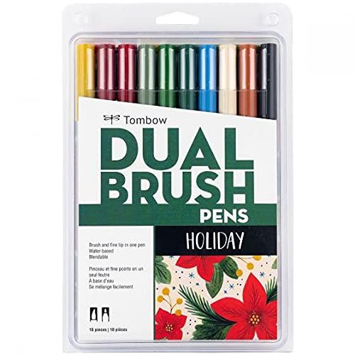 Tombow, Lançamento Dual Brush, HOLIDAY - 1 pack com 10 cores - Caneta Dual Brush (Estoque no Brasil- sem risco de tributação)