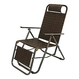 Chaises Longues, Salon inclinable Pliant Portable, sièges de rotin Chaise de Jardin, réglages de Dossier à 9 Niveaux…