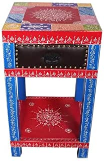 India Handpainted Mango Wood Drawer End Table Night Stand Bedside Table