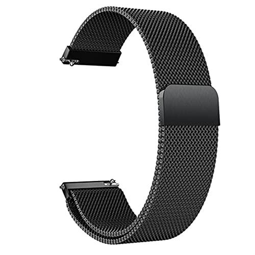 ZXF Correa Reloj, Malla Tejida de Acero Inoxidable Reloj Correa de Malla Bucle Strap de reemplazo de liberación rápida Correa de Reloj Cierre magnético Pulsera (Color : Negro, Size : 22mm)