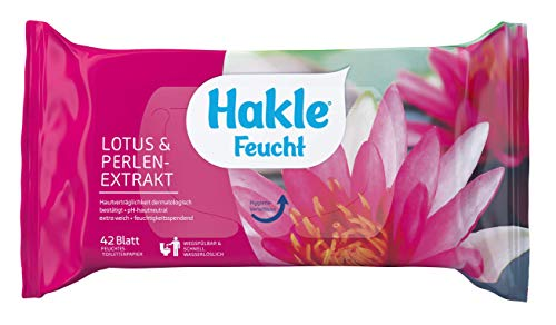 Hakle Feucht Lotus & Perlenextrakt im 6er-Pack (6 x 42 Blatt), duftendes feuchtes Toilettenpapier, hautverträgliche feuchte Tücher, schnell wasserlösliche Feuchttücher