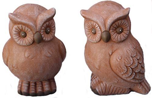 Steinfigur Eulen 2er Set 166/3, 167/3, Gartenfigur Steinguss Tierfigur Terrakotta Patina
