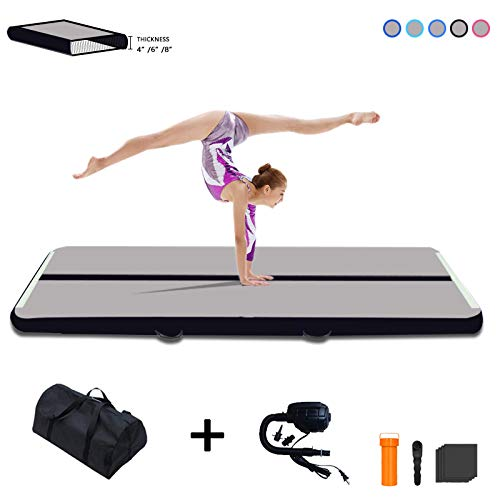 Tuexdo Sailor 10ft/13ft/16ft/20ft Inflatable Gymnastics Air Track Tumbling Mat 4in/6in/8in Thick Tumbling Air Track Mat with Electric Air Pump for Cheerleading/Gymnastics/Beach/Gym/Home use