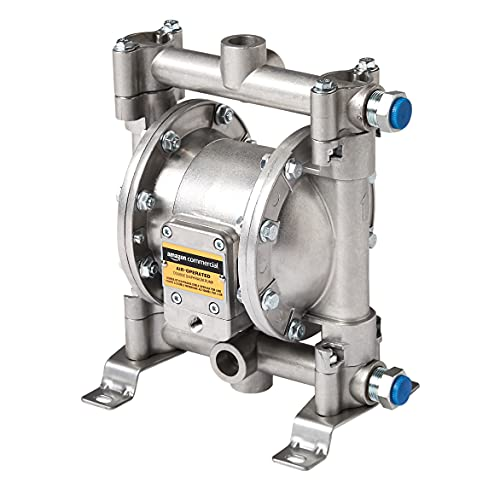 AmazonCommercial Heavy Duty Double Diaphragm Transfer Pump 1/2' Nitrile / NBR / Buna-N - 13GPM / 50LPM Aluminum Air Operated Pneumatic for Diesel, Grease, Kerosene & Oil
