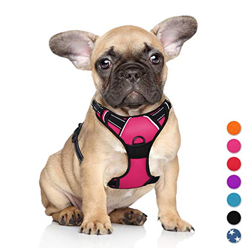 BARKBAY No Pull Pet Harness Dog Harness Adjustable Outdoor Pet Vest 3M Reflective Oxford Material Vest for pink Dogs Easy Control for Small Medium Large Dogs
