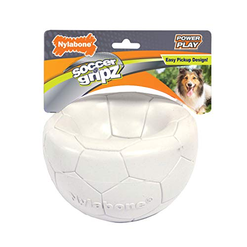 Nylabone Power Play Gripz Dog Soccer Ball Toy with Easy Pickup Design Soccer Medium (1 Count)