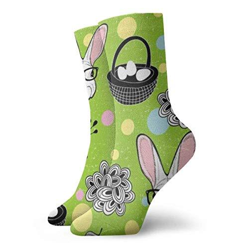 Verctor Damen Baumwolle Leicht gepolsterte Crew Socken Osterhasen Eier Full Frame Mode Nette Socke 30CM
