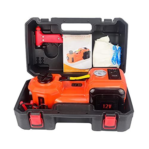 Gato eléctrico para automóvil de 5 toneladas, 12 V CC, kit de gato hidráulico para automóvil (rango de elevación: 6.1 ~ 17.7 pulgadas) con bomba de inflado eléctrica, llantas para SUV Sedan MPV Garage