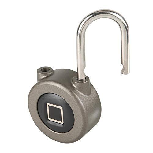 XINL Lucchetto Bluetooth App, Lucchetto Intelligente per Impronte digitali, Lucchetto di Sicurezza Senza Chiave Ricaricabile USB Esterno per Interni per Porte Porte per(Dark Gray)